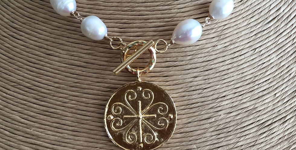 Holy City Cross Necklace in Pearls