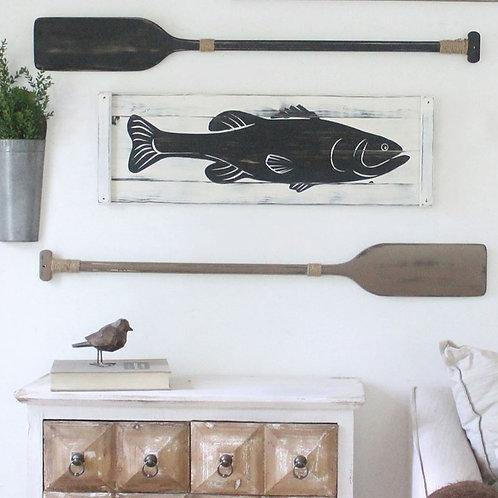 """Wooden FISH ART (Bass) - 36"""" x 12"""""""