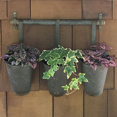 Rustic Metal Wall Rack with 3 buckets