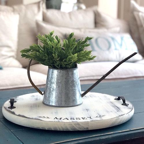 Galvanized zinc planter with faux plant