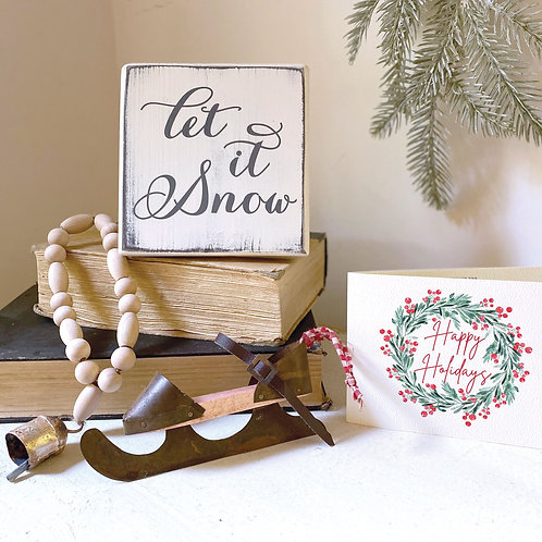 LET IT SNOW gift set sign, 3-4 pc
