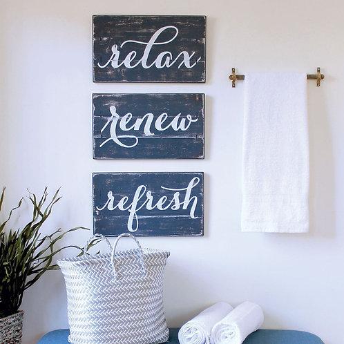 RELAX, RENEW, REFRESH 3 pc rustic bathroom decor