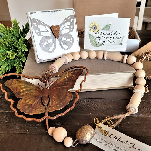 BUTTERFLY PLAQUE + CHIME MEMORIAL GIFT Box, 3-4 pc.