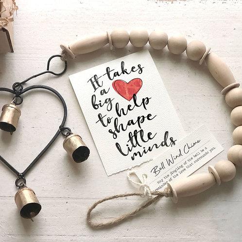 TEACHER HEART WIND CHIME gift box