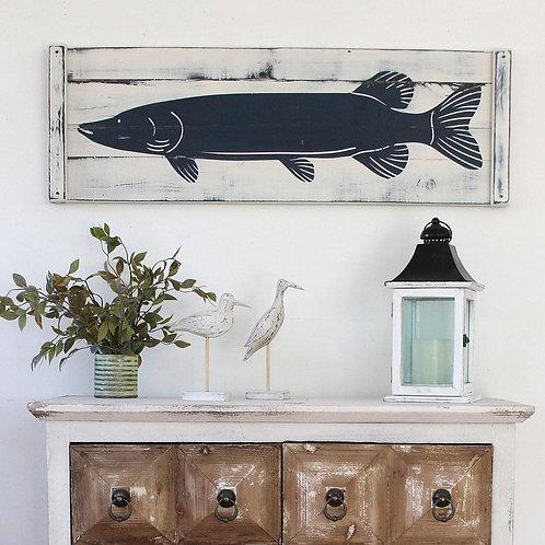 "Wooden FISH ART (Pike) - 36"" x 12"""