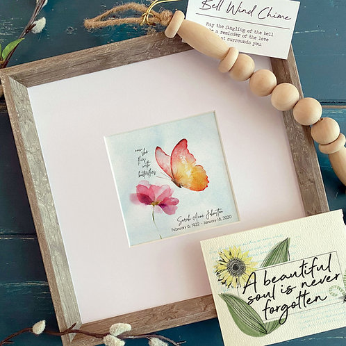 NOW SHE FLIES with butterflies memorial painting personalized