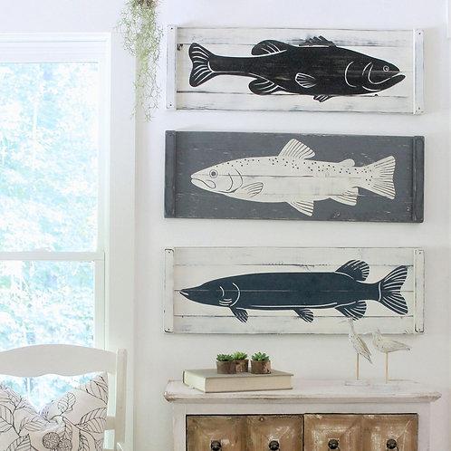 Wooden FISH ART (3 pc set) -2 sizes