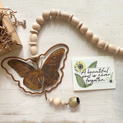 """BUTTERFLY MEMORIAL ORNAMENT chime 6"""""""
