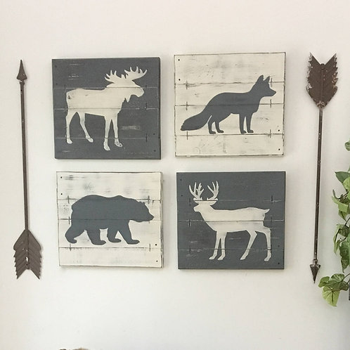 RUSTIC WOODLAND DECOR, woodland animals 4 pcs set
