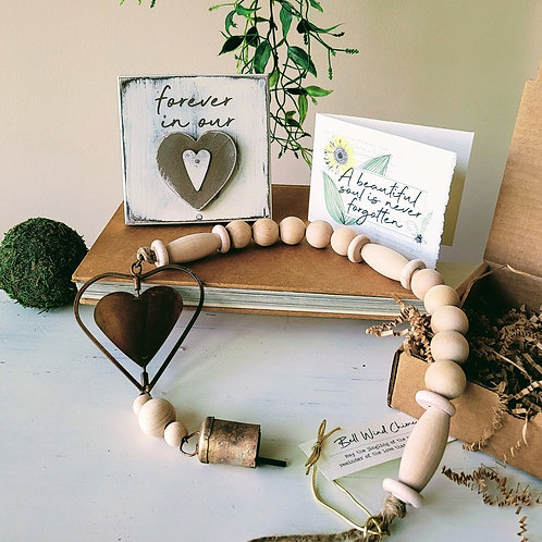 HEART PLAQUE + CHIME MEMORIAL GIFT Box, 3-4 pc.