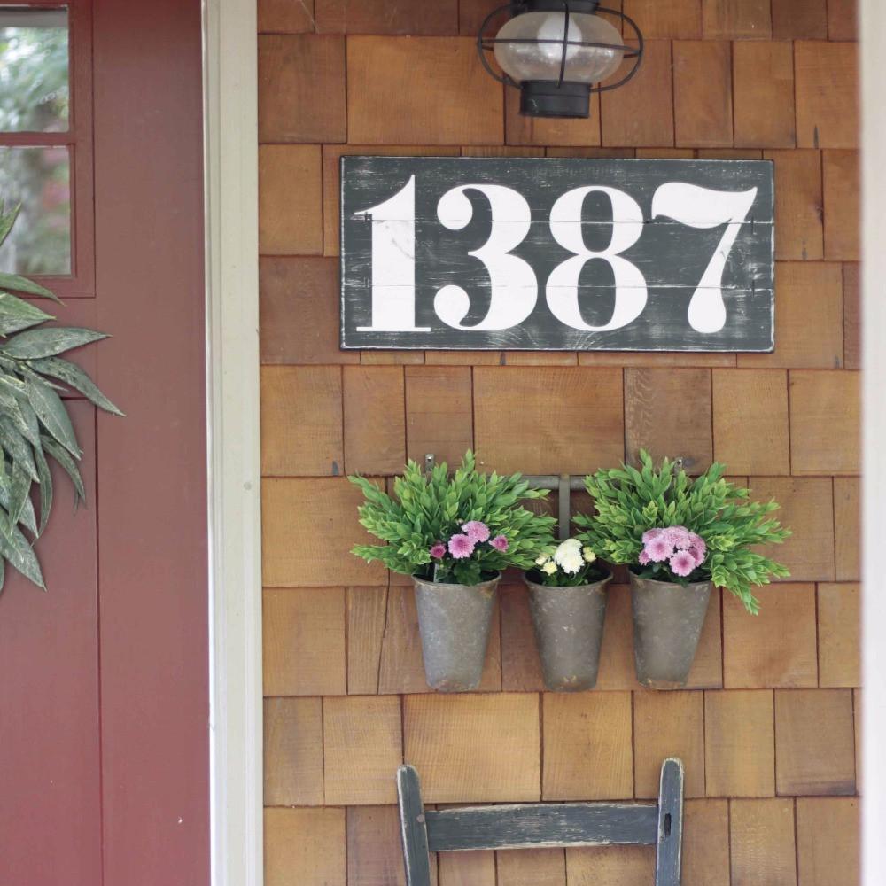 rustic wood address numbers