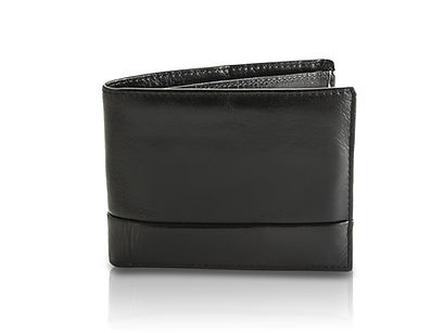 Black leather wallet on white background