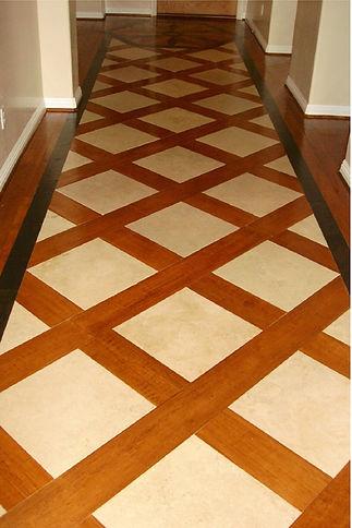 Hardwood and Tile Diagonal Inlay