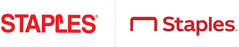 Staples logo before and after