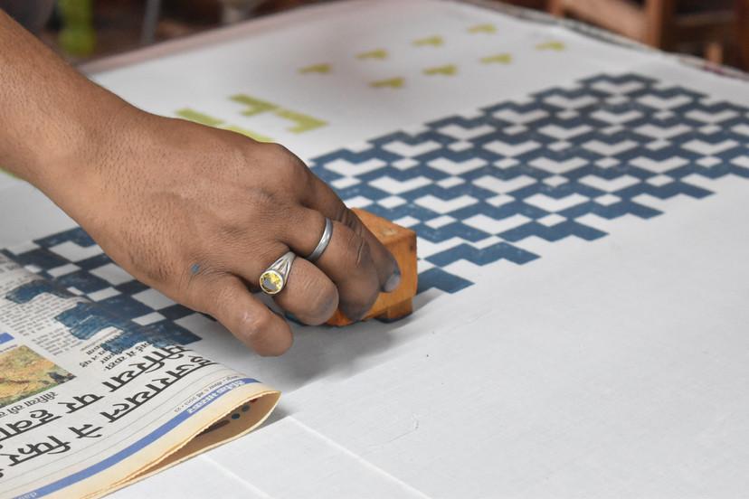 Artisans block printing