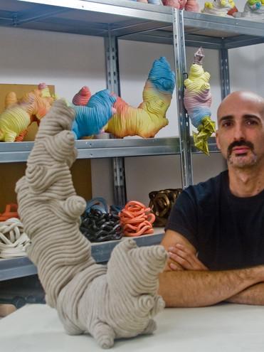 Eusebio Sanchez in his studio