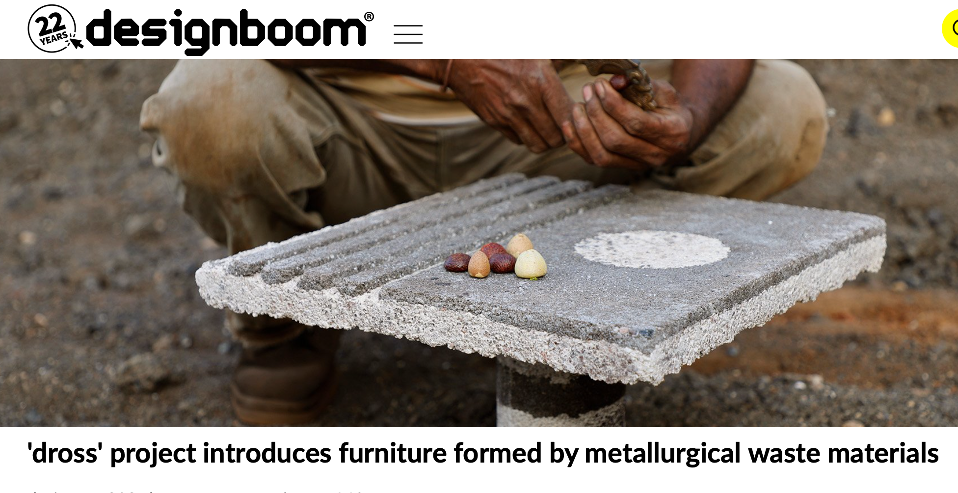 Designboom -'dross' project introduces furniture formed by metallurgical waste materials