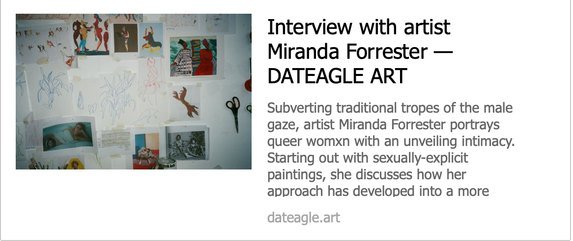 Interview with artist - Miranda Forrester  - DATEAGLE ART