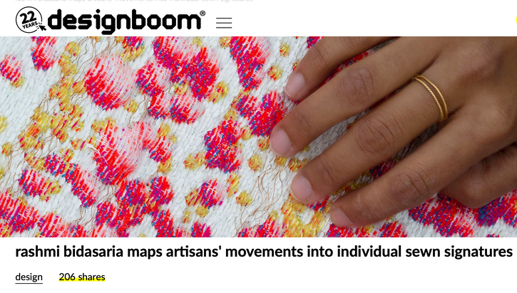 Designboom -rashmi bidasaria maps artisans' movements into individual sewn signatures