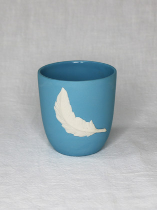 Light Blue Feather Cup by Roseanne Connolly