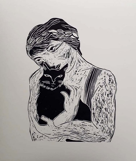 'Woman Holding Cat' by Jessica Jane Charleston