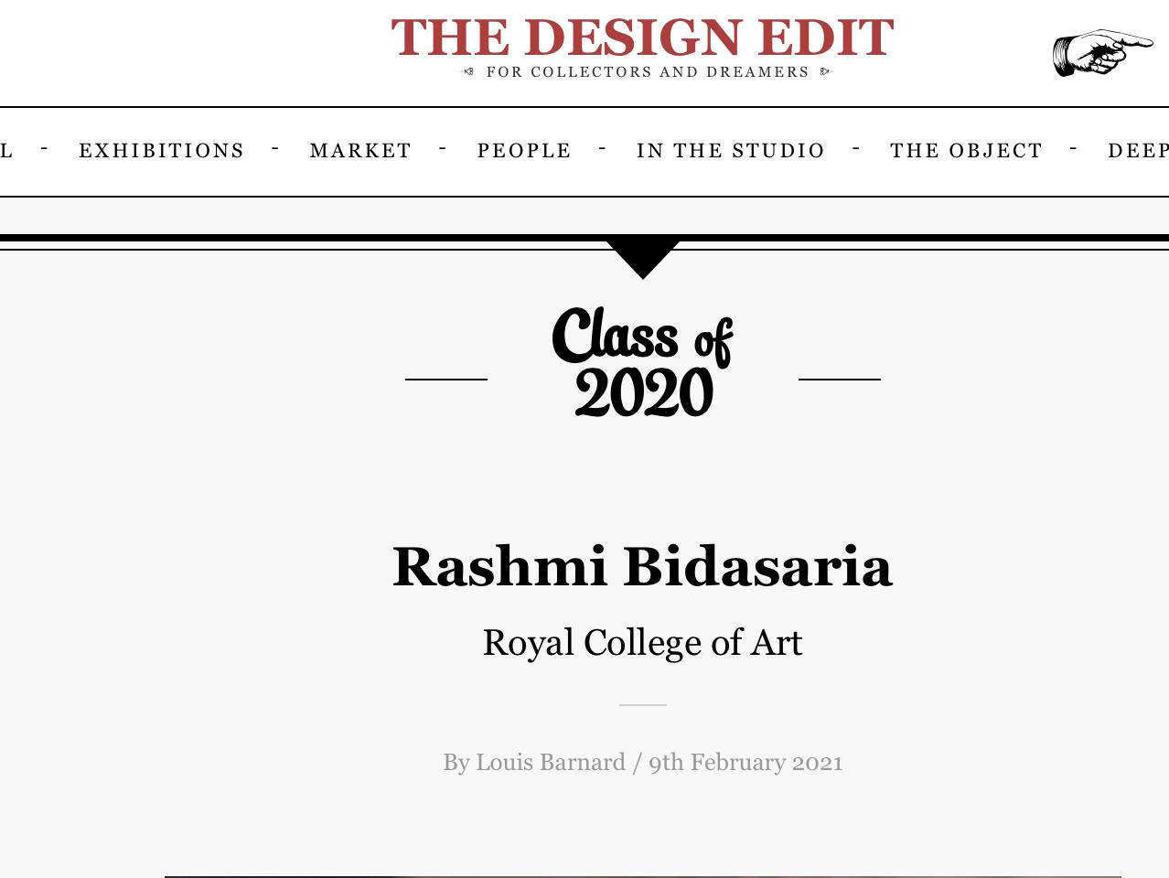 The Design Edit - Rashmi Bidasaria - Royal College of Art class of 2020