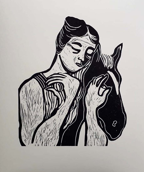 'Woman Holding Horse' by Jessica Jane Charleston
