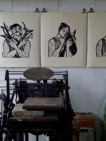 Printing press in Jessica's studio