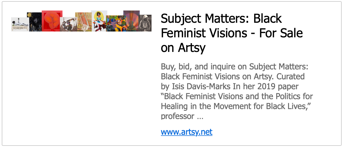 Subject Matter: Black Feminist Visions - For sale on Artsy