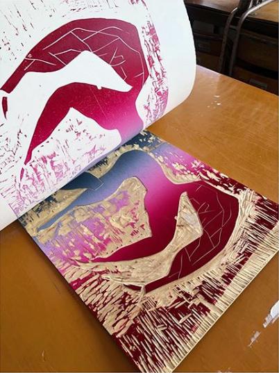 Wood cut printing