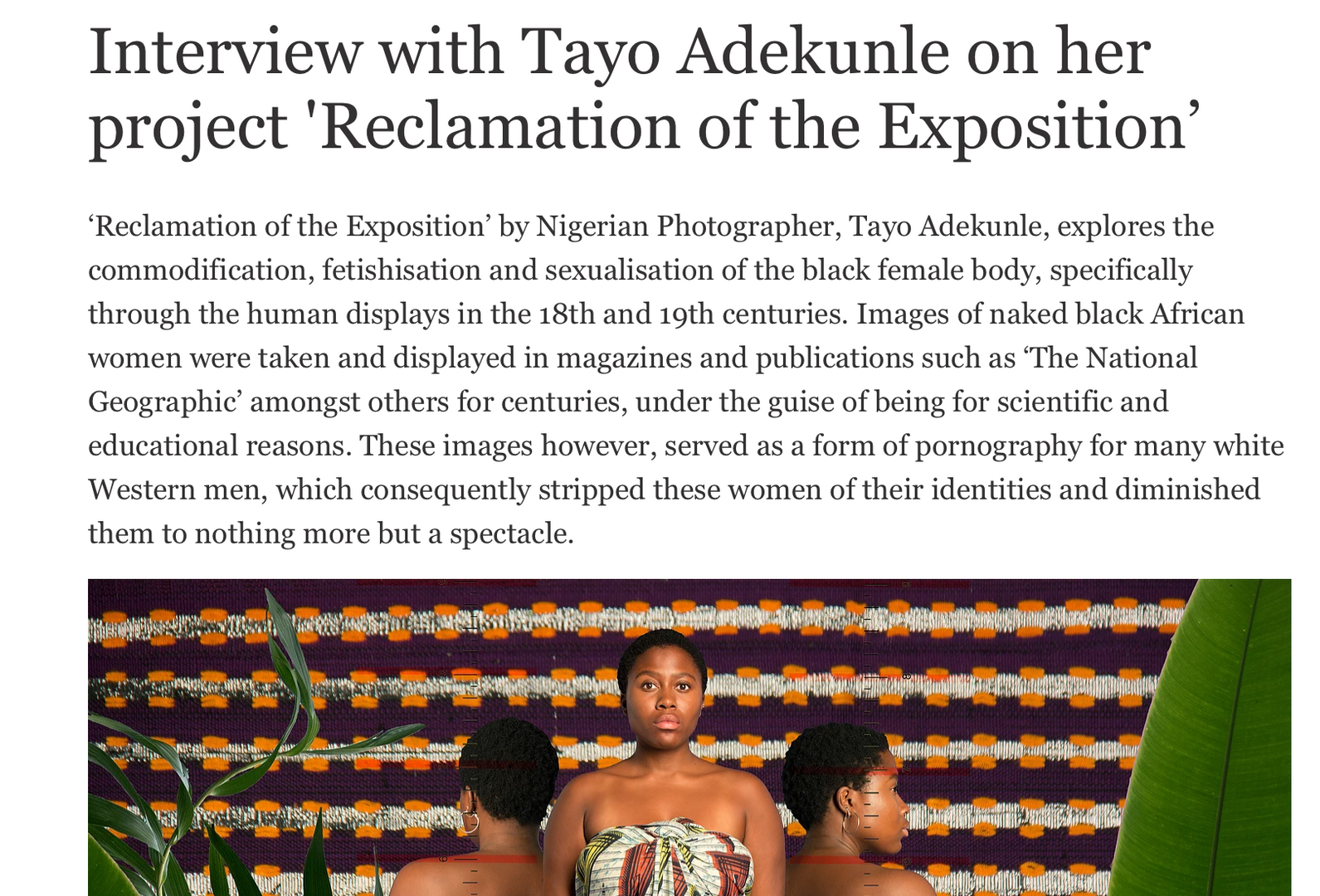 Interview with Tayo Adekunle on her project 'Reclamation of the Exposition' No! Wahala Magazine