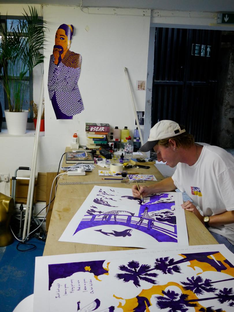 Ivo Morrison in his studio