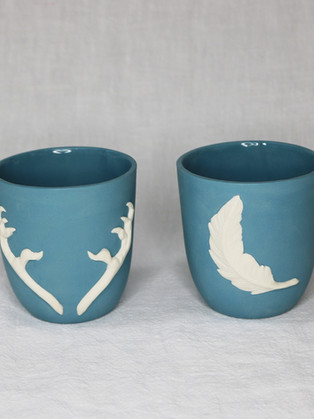 Teal Cup Pair by  Roseanne Connolly