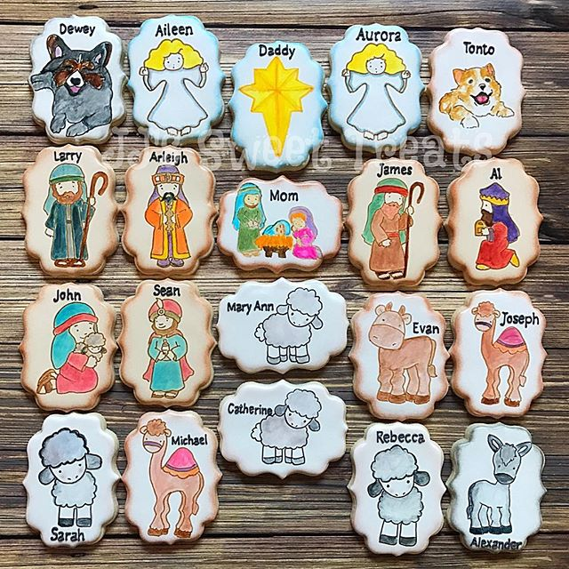 Nativity set cookies personalized for each member of the family including their pet dogs