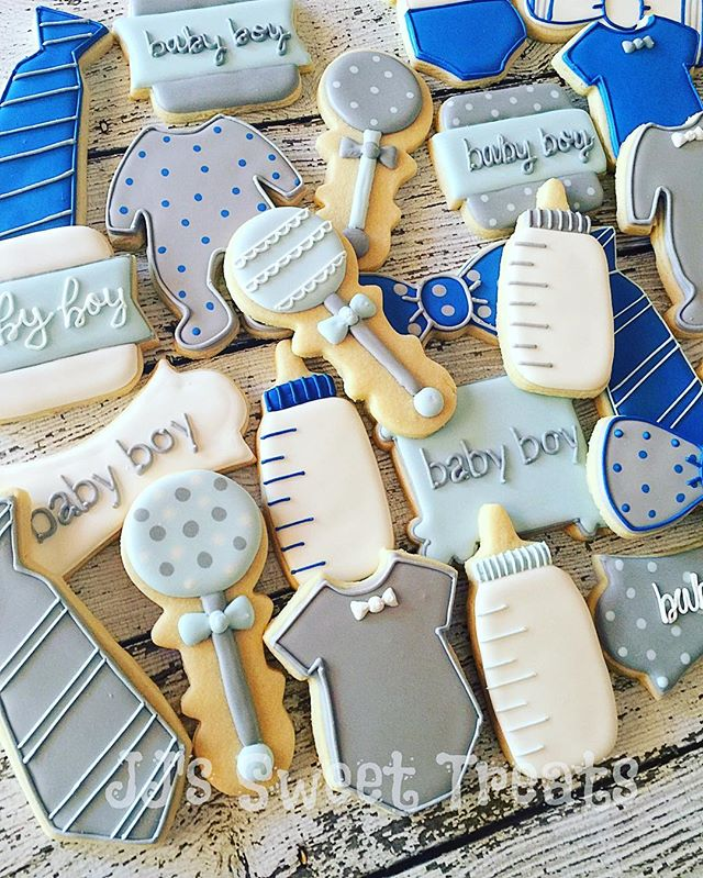 #bowties and #ties in blue and gray for this baby boy shower! 💙__#customcookies #decoratedcookies #