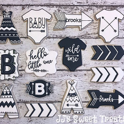 Black and white Boho Baby Shower cookies!  Thank you, Audrey! ___________#customcookies #decoratedco