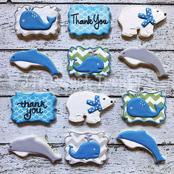 Polar bears, whales and dolphin thank you cookies
