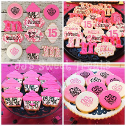 Damask and hot pink for Maddie's 15th birthday! #customcookies #decoratedcookies #decoratedsugarcook
