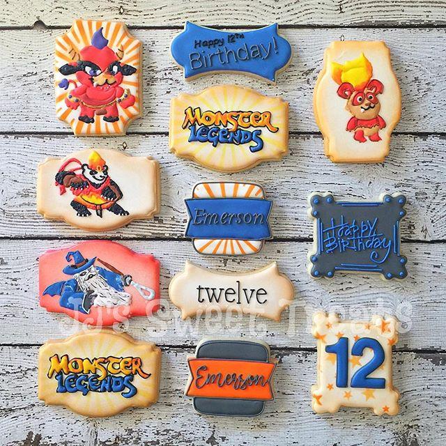 #monsterlegends cookies for Emerson's 12th birthday! _#customcookies #decoratedcookies #decoratedsug