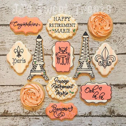 Parisian theme for a soon to be retiree! Congratulations, Marie! _#customcookies #decoratedcookies #