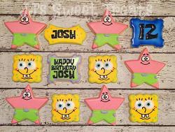 #Spongebob and #Patrick cookies for Josh's 12th birthday! _#customcookies #decoratedcookies #decorat