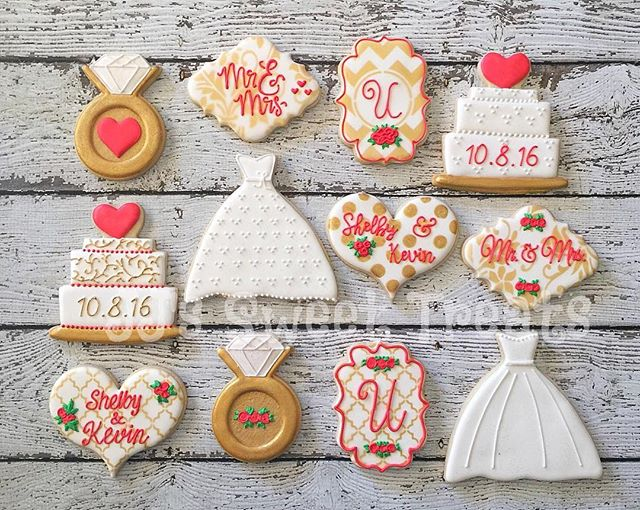 Bridal shower cookies. Love the red and gold color combo