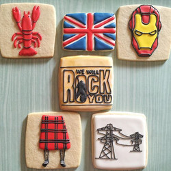 #anniversary #customcookies #decoratedcookies #edibleart #royalicing #kilt #ironman #lobster #queen
