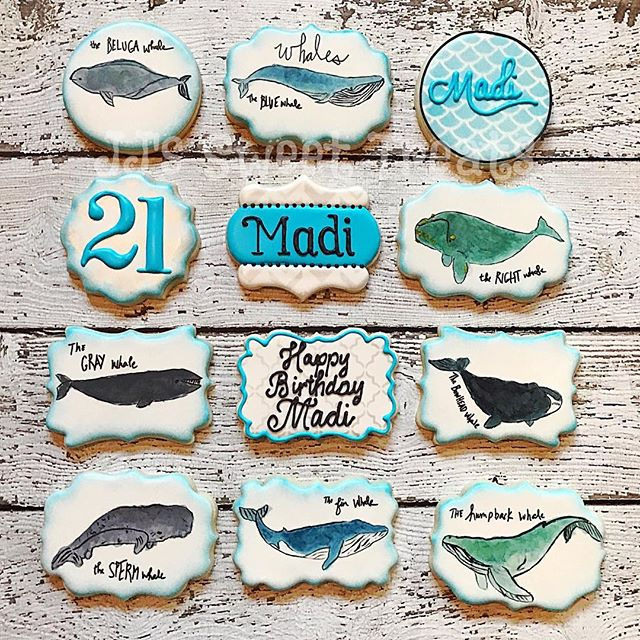Watercolor whales for Madi's 21st Birthday!  Thank you, Lisa! _#customcookies #decoratedcookies #dec