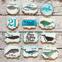 Watercolor whales for Madi's 21st Birthday!  Thank you, Lisa! _#customcookies #decoratedcookies #dec