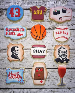 Birthday cookies for Shay - some of his favorites. In case you're wondering, his boys are named Linc