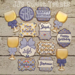 Birthday cookies for my bestie Steph!  Can you tell she loves wine and purple_  Love you, girlie! Ha