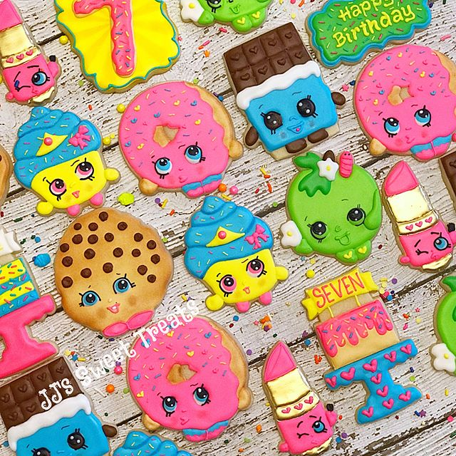 Shopkins cookies for Cassie's 7th Birthday!  Thank you, Jen! _______________#customcookies #decorate