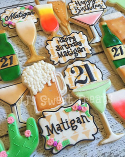 Happy 21st Birthday _matiganwall!  #cocktailcookies for this beauty!  Love the cocktail stencil from
