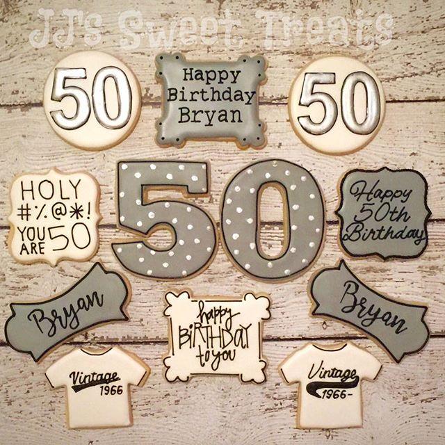 Happy 50th, Bryan! _#customcookies #decoratedcookies #decoratedsugarcookies #sugarcookies #royalicin